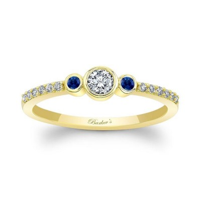 Mia Three Stone Blue Sapphire Diamond Promise Ring Image 1