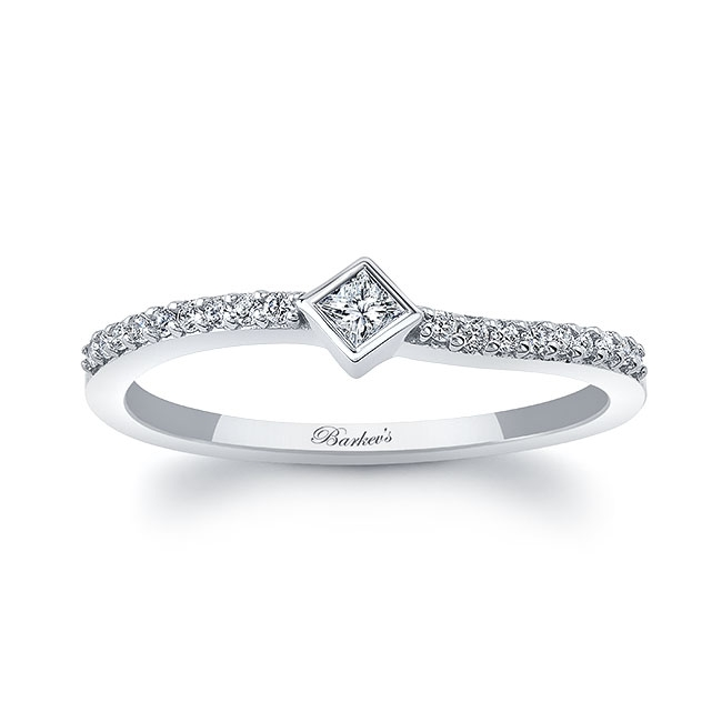 Abi Curved Princess Cut Diamond Promise Ring Image 1