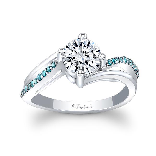Split Shank Blue Diamond Accent Moissanite Ring
