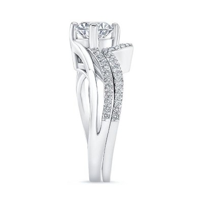 Split Shank Engagement Ring With Wedding Band Image 3