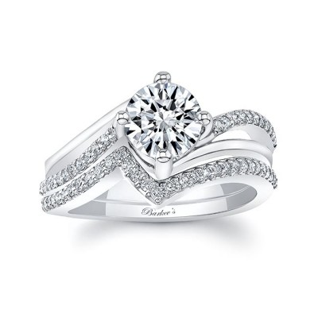 Split Shank Engagement Ring With Wedding Band Image 1