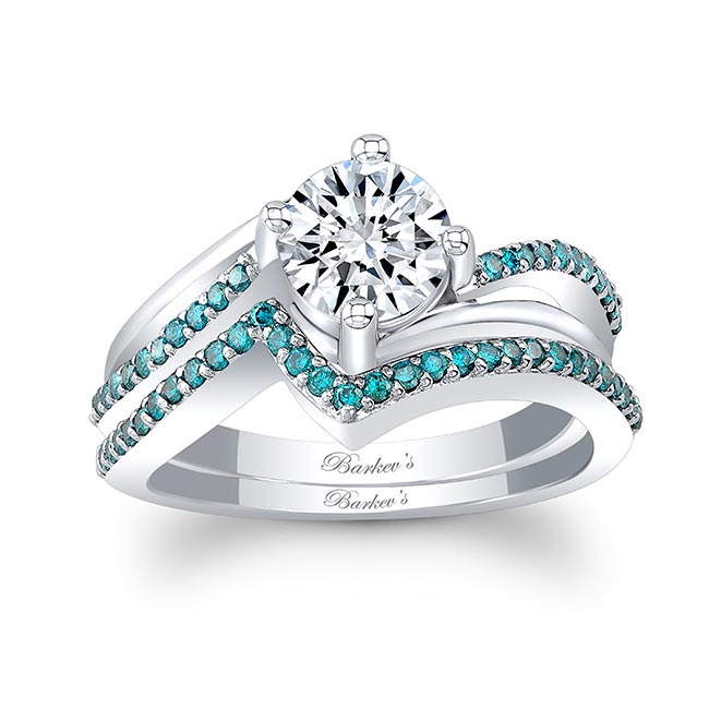 Split Shank Blue Diamond Accent Wedding Set