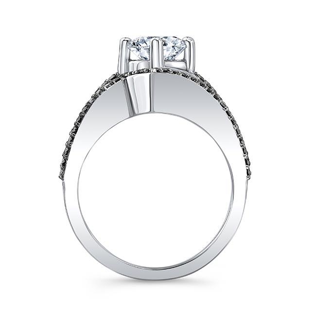 Split Shank Black Diamond Wedding Set Image 2