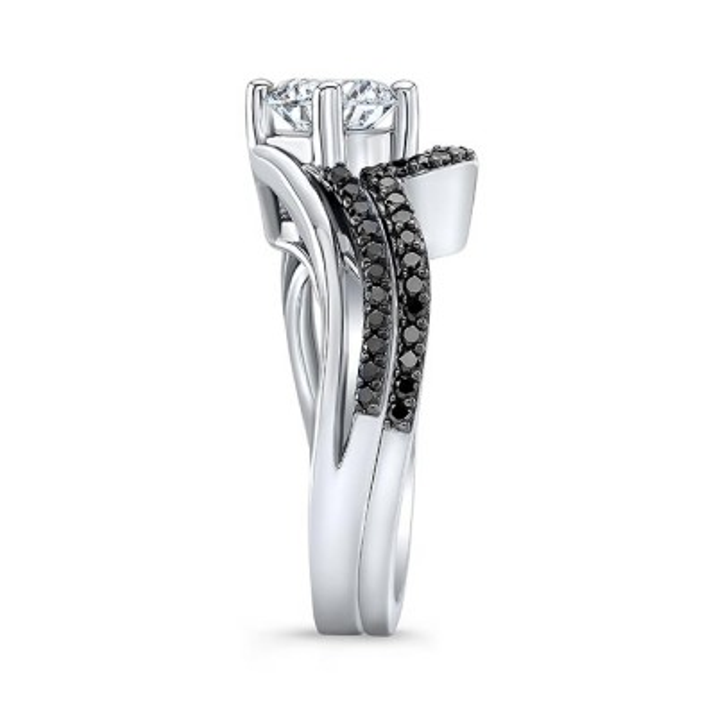 Split Shank Black Diamond Wedding Set Image 3