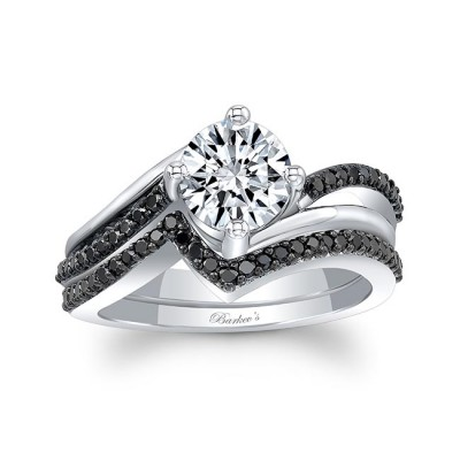 Split Shank Black Diamond Wedding Set Image 1