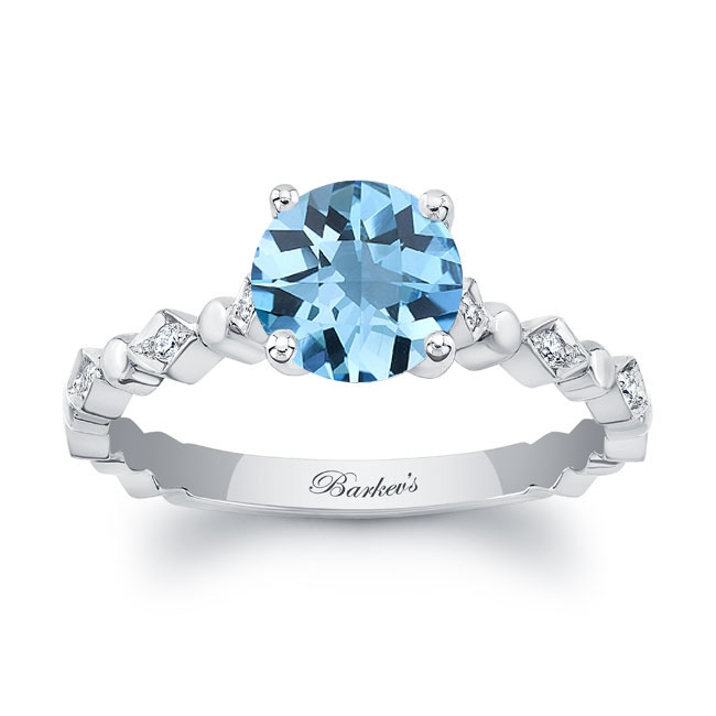 Art Deco Aquamarine Engagement Ring Image 1