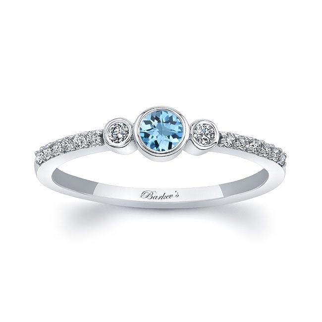 Mia Aquamarine Three Stone Diamond Promise Ring Image 1