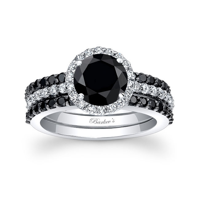 3 Piece Black Diamond Wedding Ring Set