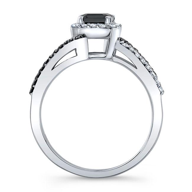 Emerald Cut Black Diamond Halo Engagement Ring Image 2