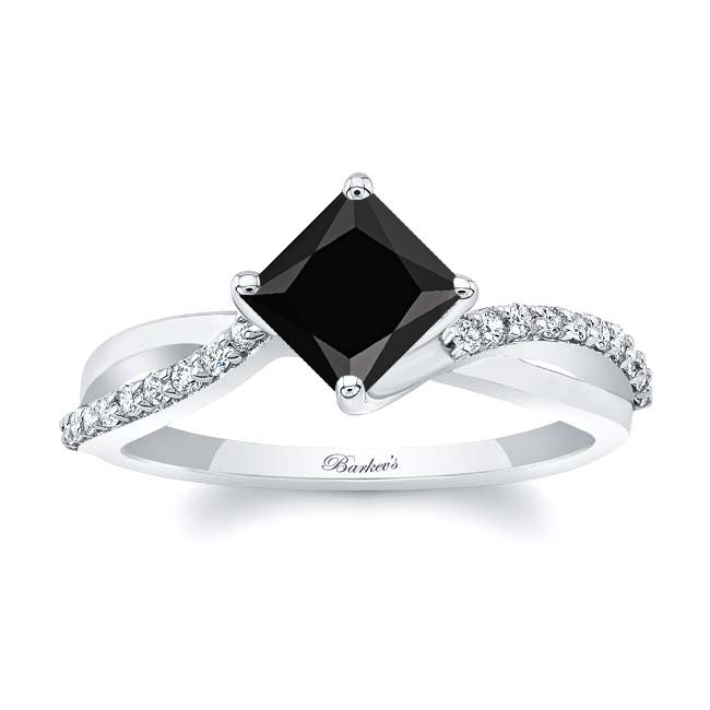 Black And White Diamond Princess Cut Twist Ring