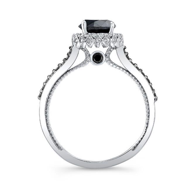 Round Halo Black Diamond Ring Image 2