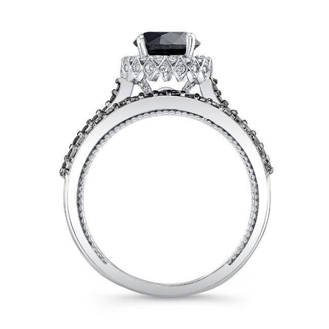 Round Halo Black Diamond Wedding Set Image 2