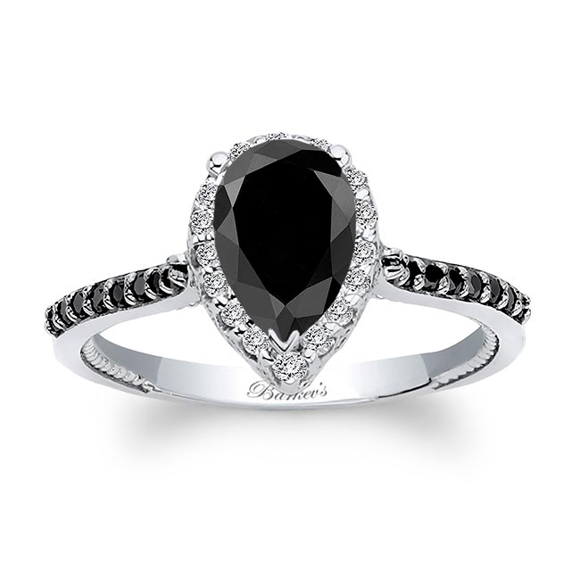 Eva Pear Shaped Black Diamond Halo Ring