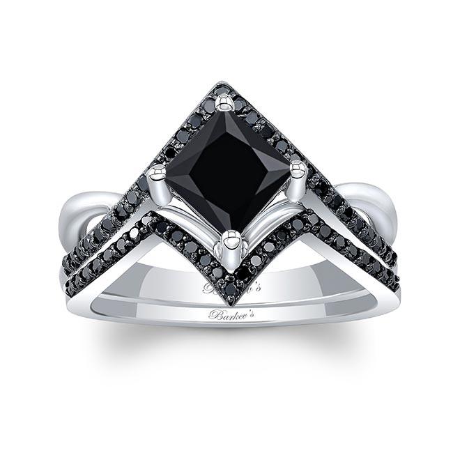 Unique Princess Cut Black Diamond Engagement Ring Set