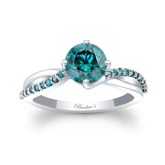 Twisted Blue Diamond Accent Ring