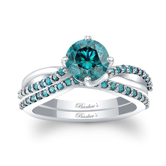 Twisted Blue Diamond Bridal Set