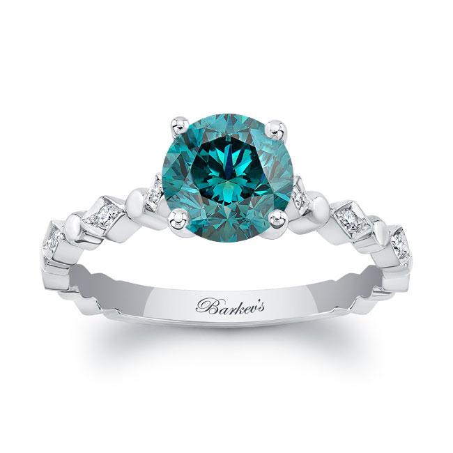 Art Deco Blue Diamond Engagement Ring Image 1