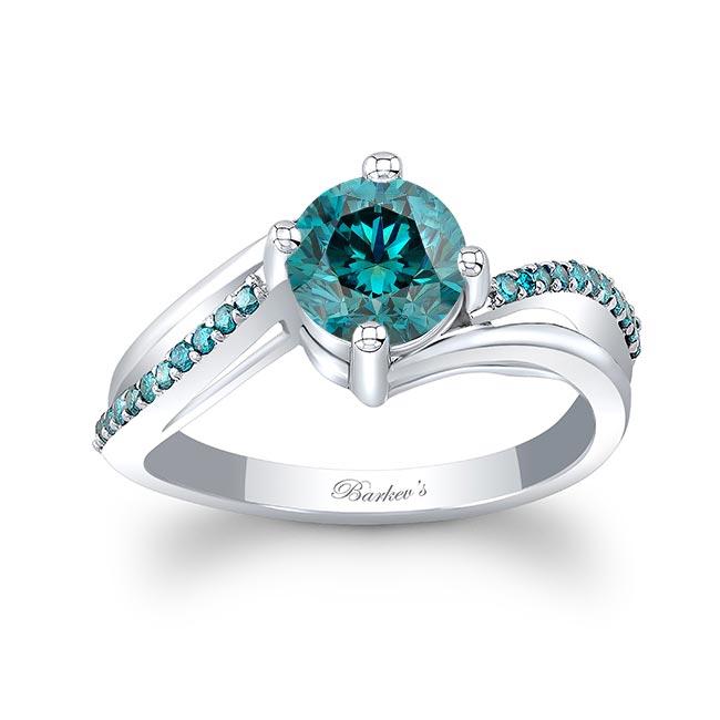Split Shank Blue Diamond Ring