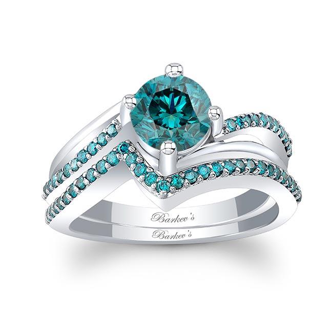 Split Shank Blue Diamond Wedding Set