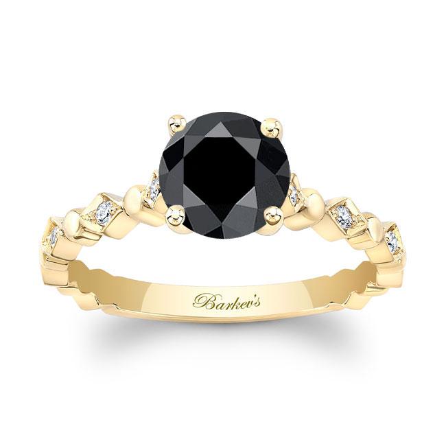 Art Deco Black Diamond Engagement Ring Image 1