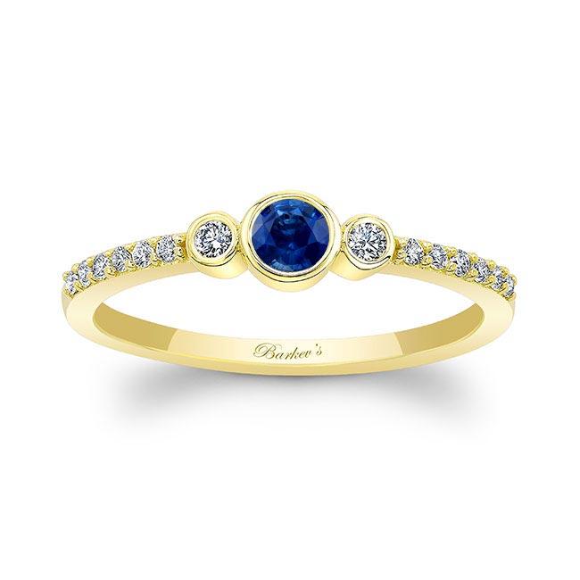 Mia Blue Sapphire Three Stone Diamond Promise Ring Image 1