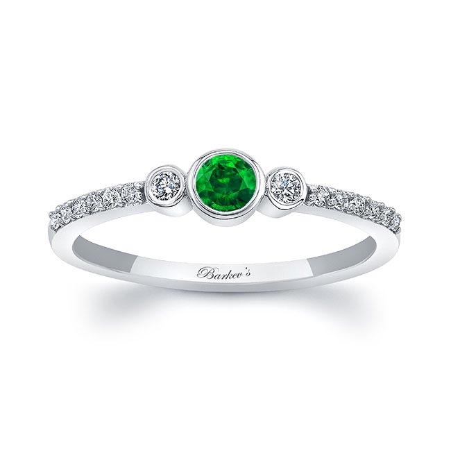 Mia Emerald Three Stone Diamond Promise Ring Image 1
