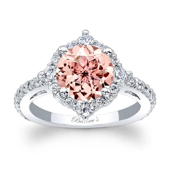 2 Carat Morganite Halo Diamond Ring