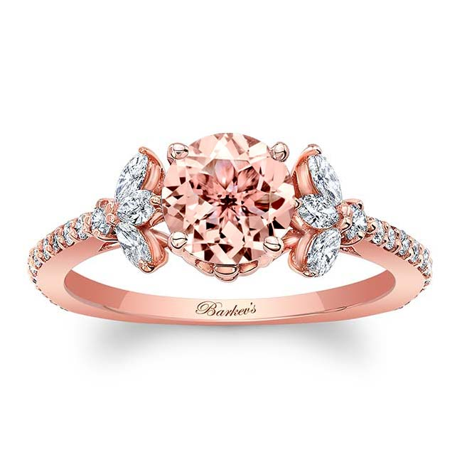 Morganite Leaf Engagement Ring Image 1