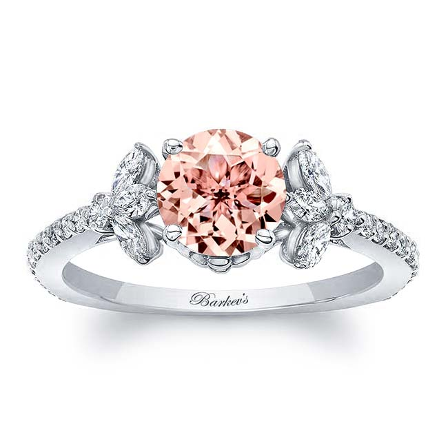 Morganite Leaf Engagement Ring