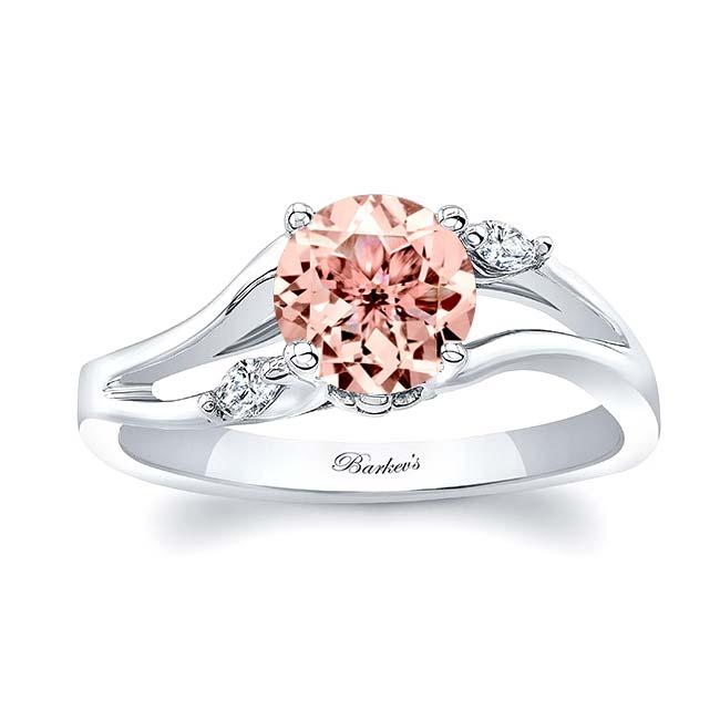 V Shaped Morganite And Diamond Ring Image 1