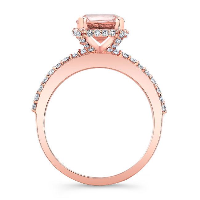 Morganite Hidden Halo Ring Image 2