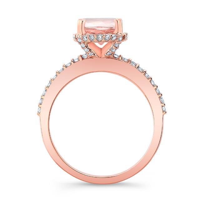 Hidden Halo Oval Morganite Engagement Ring Image 2