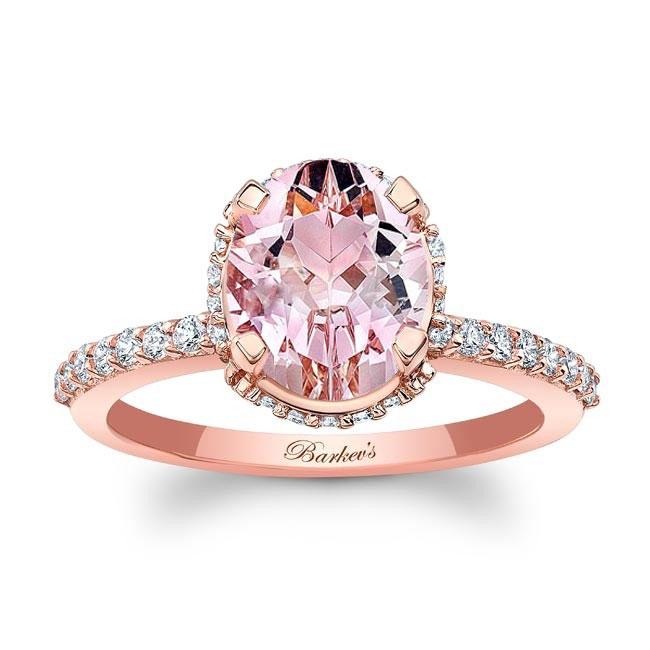 Hidden Halo Oval Morganite Engagement Ring Image 1