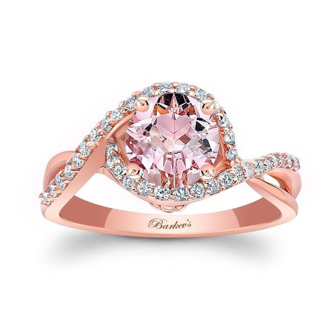 Twisted Halo Morganite Engagement Ring Image 1