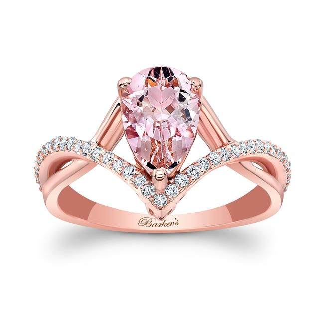 Unique Pear Shaped Morganite Ring Image 1