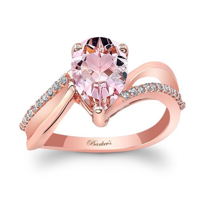 Split Shank Pear Morganite Ring Image 1