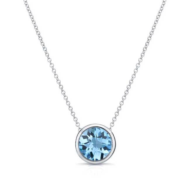 Aquamarine White Gold Necklace AQ-8150N