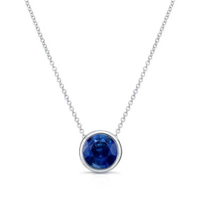 Blue Sapphire White Gold Necklace BS-8150N Image 1