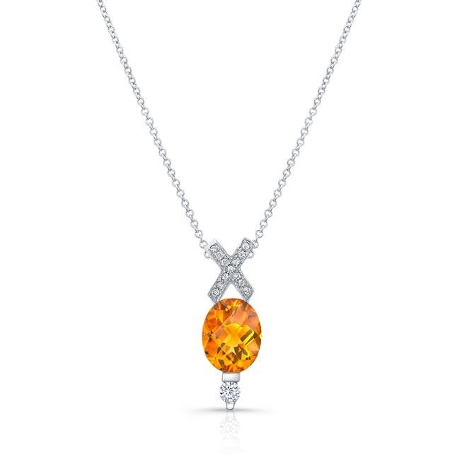 Citrine and Diamond Cross Necklace MC-6799N