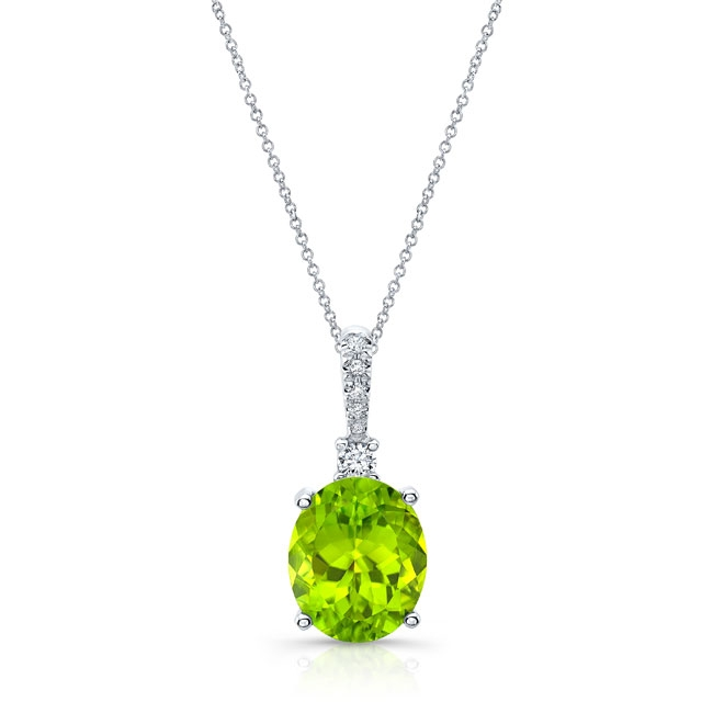 White Gold Peridot and Diamond Necklace PD-8175N