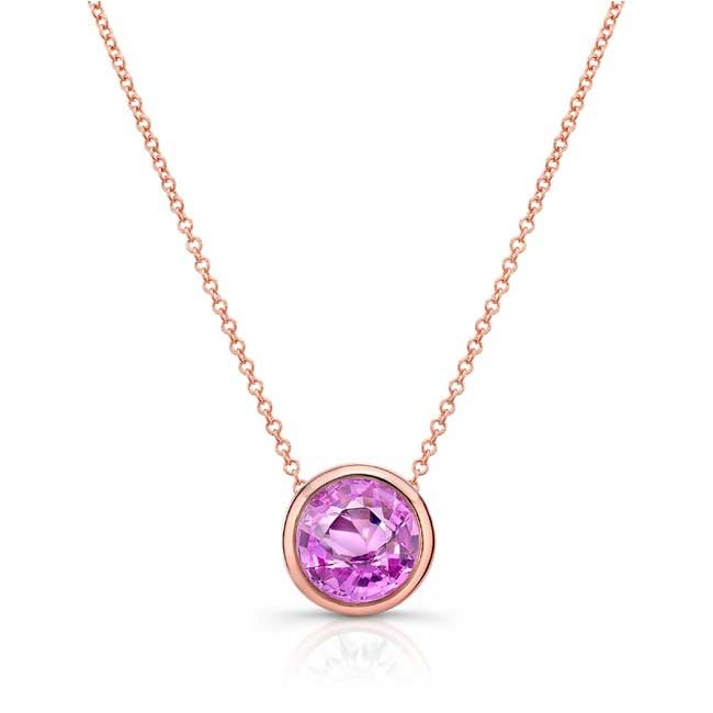 Pink Sapphire White Gold Necklace PS-8150N Image 1