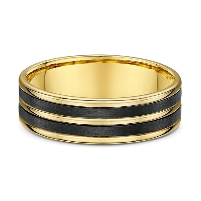Dora Carbon Fiber And Yellow Gold Wedding Band 596B00