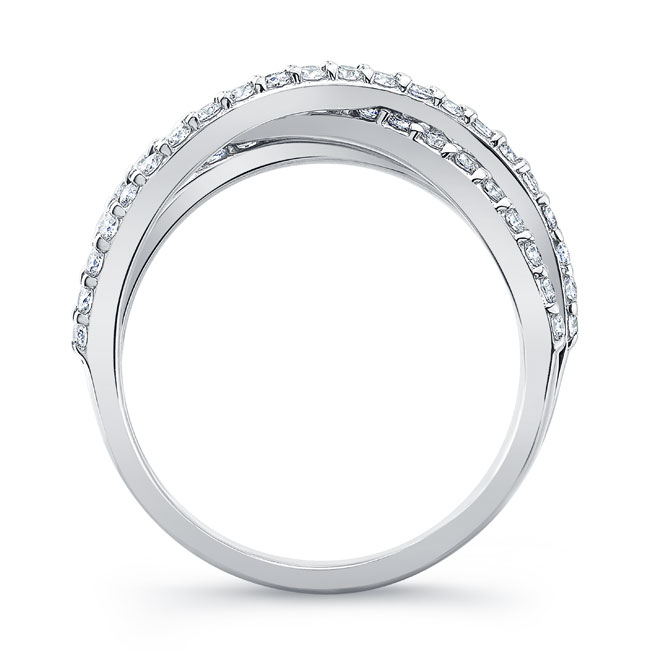 White Gold Criss Cross Wedding Band 8186W Image 2