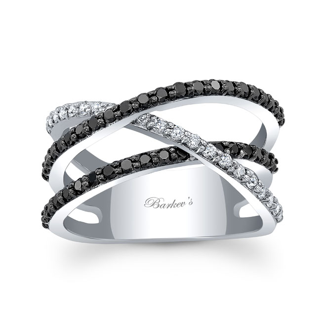 Black Diamond Criss Cross Wedding Band 8186WBK